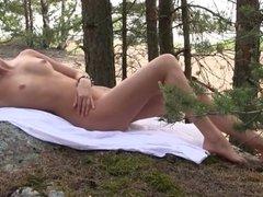 Sweetheart Julia posing in forest