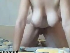 Hot babe with big saggy tits gets doggystyled