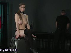 Natural busty slave anal toyed and gagged