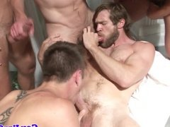 Gay toga party cocksucking muscular action