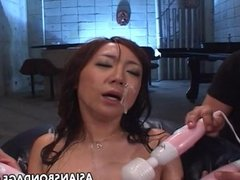 Asian bitch ultra toyed and cum spunked in he