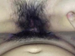 Asian with hairy pussy POV sex