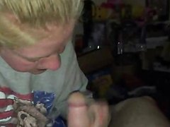 Amateur Blonde babe blowjob and swallowing
