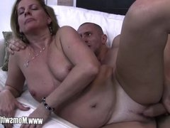 Stepson Caught Masturbating By His Blonde Hor