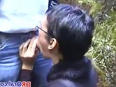 Chick Giving A Blowjob Outdoors