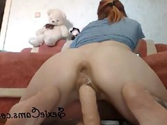 Tight Redhead Riding A Rubber Dick