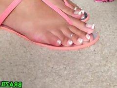 Brazilian Feet Teasing Close Up