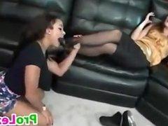 Sucking On Her Nylon Covered Feet