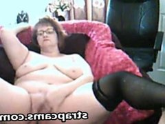 Charming granny loves fingering pussy on cam