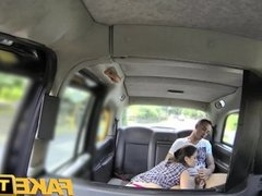 FakeTaxi Horny couple in back of cab