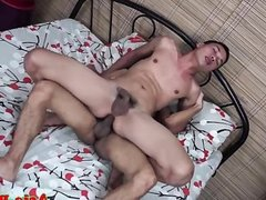 Asian bareback twink jerks cock after anal