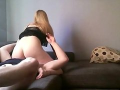 Blonde Beauty sits on his face
