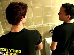 Two gorgeous twink boys cum in urinal