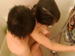 Girl fucked hard and cummed on in the shower