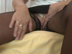 Granny playing with big dick