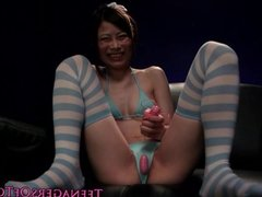 Tiny wam japanese teen toyed and facialized