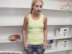Petite tugging teen cutie on her knees pov