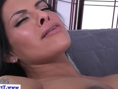 Latina shemale deepthroated by female