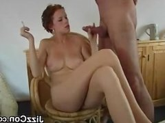 Slut Stroking Cock And Smoking
