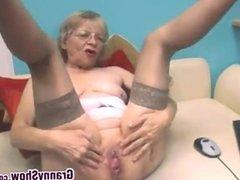 Cute Grandmother Masturbates