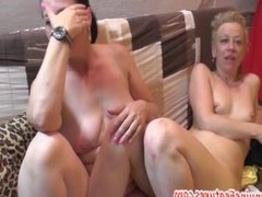 Naughty MILFs show their pussies at CASTING