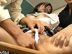 Asian schoolgirl finger fucking action