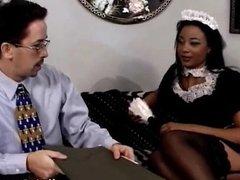 Fucking black maid in stockings