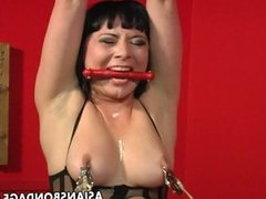 One freaky brunette is tied up and spun by he