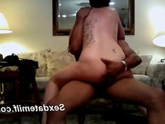 Mature riding her young hung black bul