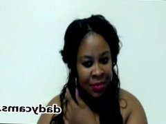 Black model with huge natural tits on webcam