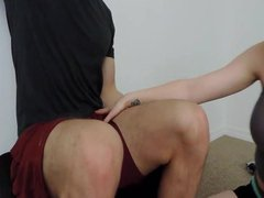 Gym freak gets cock sucked by hot chick