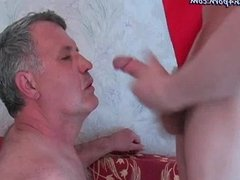Old gay doing oral and getting jizz