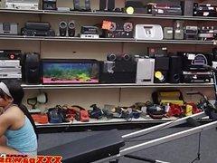 Real ebony pawnshop amateur showing tits off