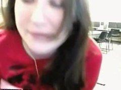 Hot college babe at school masturbates on cam