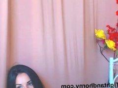 Sexy brunette masturbating on live cam