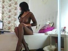 Sexy busty brunette masturbating on webcam
