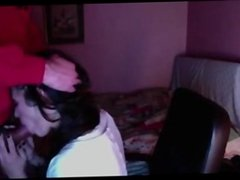 Getting throated by stranger for her webcam