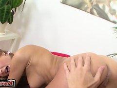 Horny daughter cum on body