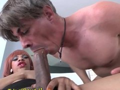 Ebony shemale rimmed after sucking on cock