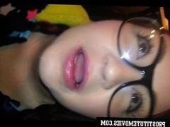 Exposed Beautiful emo teen xmas blowjob