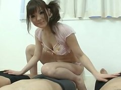 Massive gangbang porn show with young Huwari