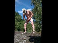 exhibitionist naked public outdoor cumshot