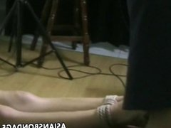 Amateur Asian teen is roped up by her master