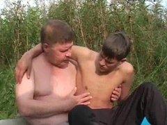 Teen gay enjoys cock freting outside