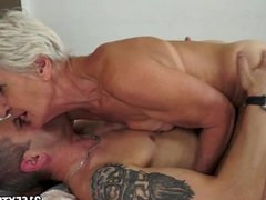 GILF Aliz have a blast with a big young cock