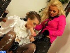 Bukkake loving lesbian drenched by strapon