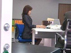 Office bimbo, Maki Hojo, plays with her fann