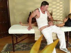Curvy masseuse gets cum