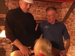 Old turists fuck hussy american girl in a bar