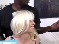 Blonde wife kissing her new black master